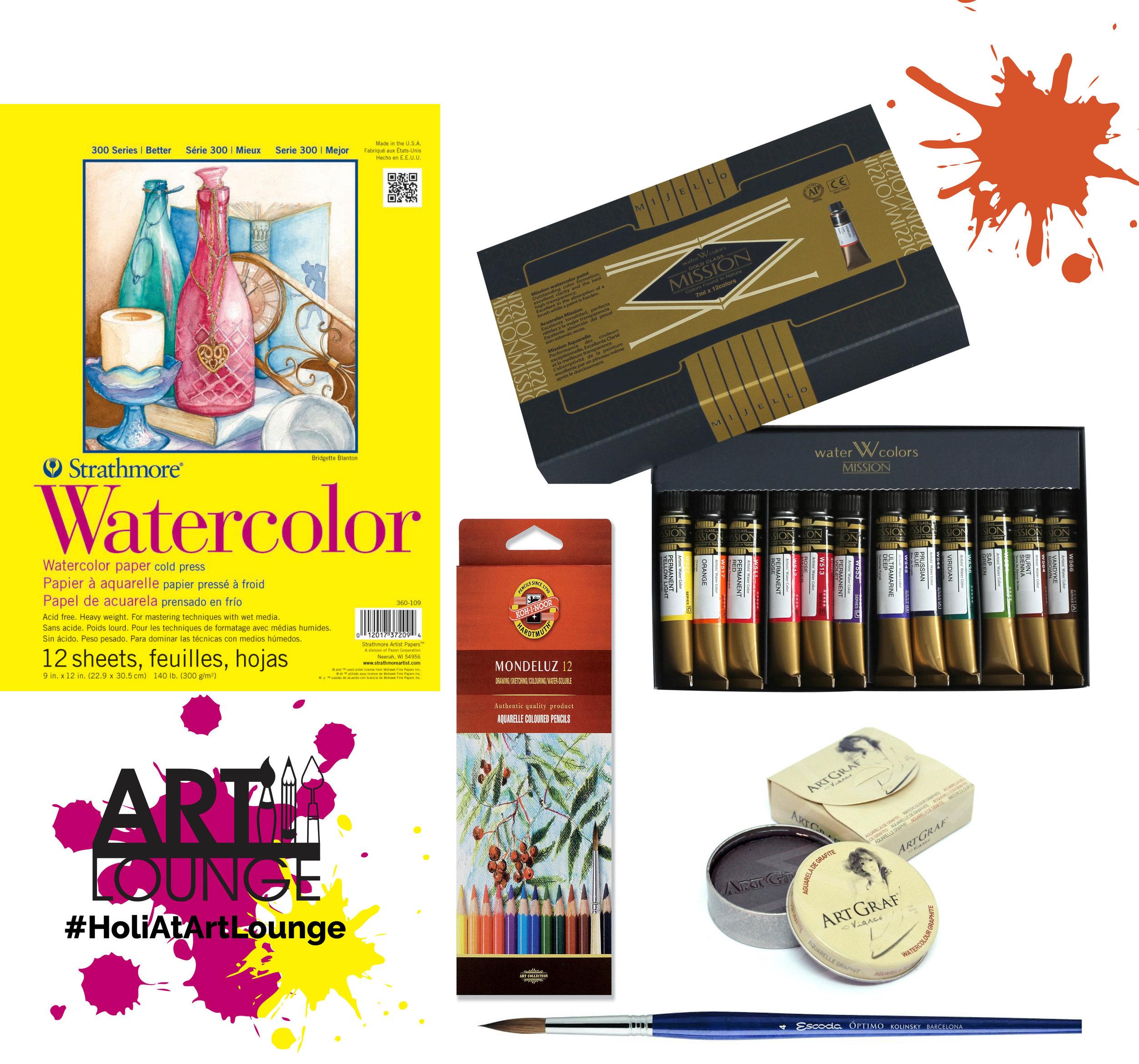 1.  Strathmore 300 Watercolor 9x12in pad  2.  Mission Gold 7mlx12 set  3.  Koh-i-Noor Mondeluz set of 12  4.  Viarco Art Graf Water Soluble Graphite Powder  5.  Escoda Kolinsky Sable size 4 brush