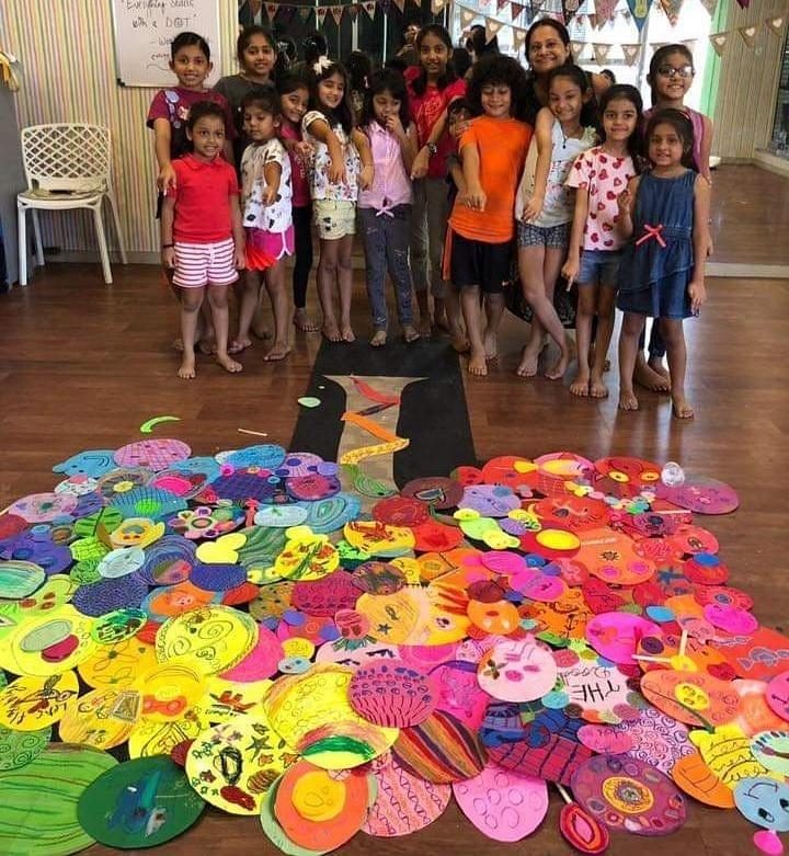 Kids and Madhumita Srivastava in a workshop