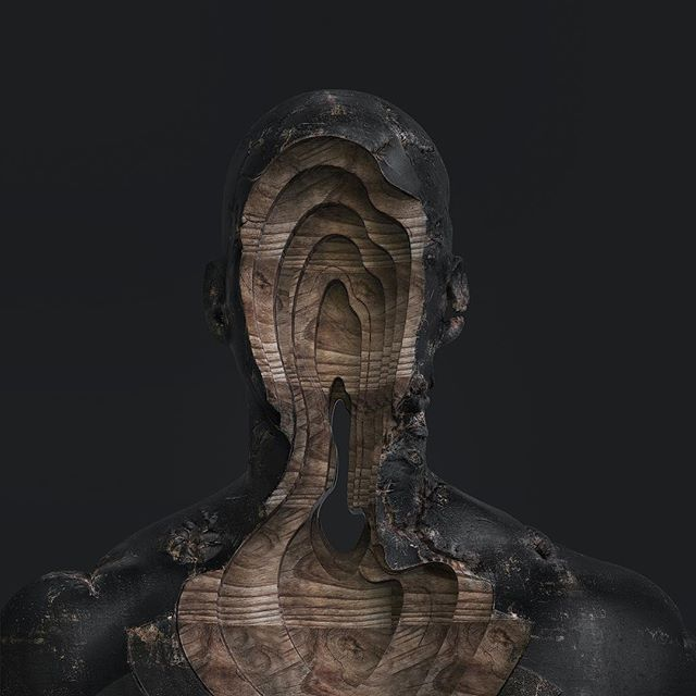 Black wood.  #digitalart #sculpture #conceptart #installationart #designinspiration #artistoninstagram #lighting #blackwood #wood #artwork #octanerender #xparticles #c4d #3d #motiondesign #mograph #redshiftrender #coronarender