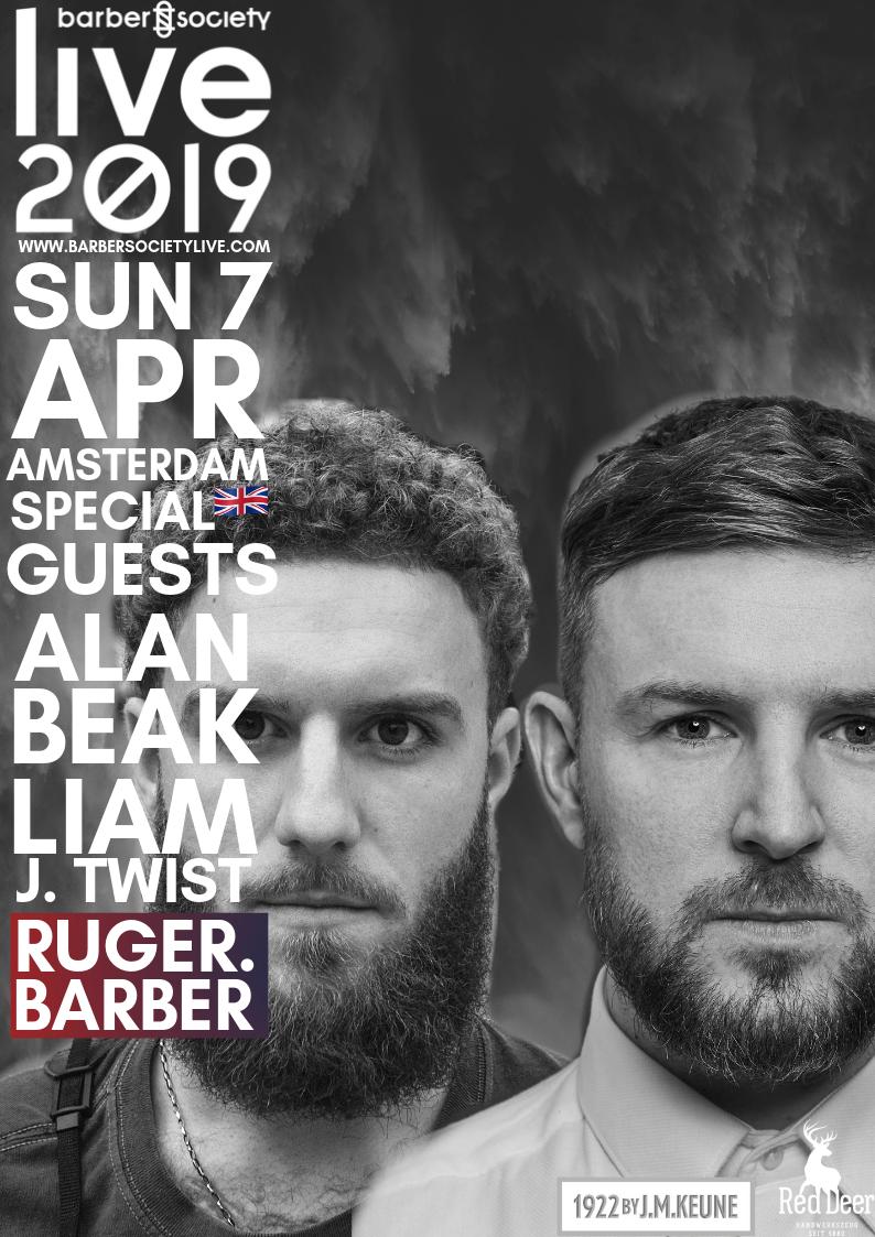 RUGER. Barber!   Hij staat bekend als een van de beste mannelijke kappers in de UK,  Alan Beak . Hij heeft met zijn merk RUGER. Barber faam opgebouwd als een van de bekendste barbershops van de UK. Hij heeft meer dan 130.000 volgers op instagram en heeft internationale awards in de pocket. Hij heeft een passie voor doceren en is niet bang om te experimenten en risico's te nemen.  Alan zal aanwezig zijn op zondag 7 april, samen met een groot talent van het Ruger Barber-team:  Liam Twist!   Liam is een geweldige internationale educator en creative director en reist samen met Alan de wereld rond om educatie te geven.  Wij kunnen niet wachten om deze geweldige artiesten live op het podium te zien!