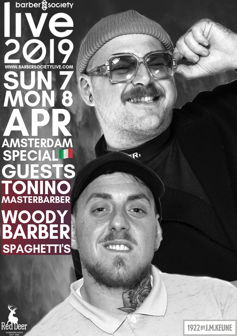 SPAGHETTI'S: COLLECTION & FASHION SHOW   These Italian master barbers, Tonino and Woody, will be present at BarberSociety Live on 7 and 8 April!  Antonio Esposito and Emanuele Woody Esposito are founders of the brand Spaghetti's and their academy 'SPAGHETTI METHODO'.   Tonino  is international educator and performs regularly his well-known innovative cutting lines in his academy. In 2018, he has organized the first Spaghetti's festival barber in Rome!   Woody  is educator at Spaghetti's Metodo, works as a technical manager and is responsible for the cutting techniques and professional growth of the staff of Spaghetti's barbershop.  They present their 2019 collection at BSL combined with a fashion statement.  Again two multi talents that you will see on stage this year! Fantastico!