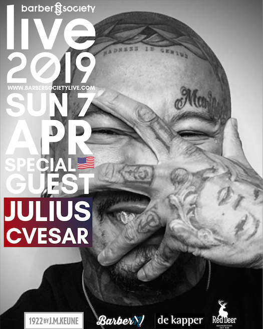 Julius Cvesar   We are enormously excited to fly in from LA, one of the Hair Industry's leading forces: Julius Cvesar! His monochromatic edgy visual delivery can be seen through his every-growing 97K Instagram following via @JuliusCaesar. He will be on stage together with Leah Hayden Cassidy on Sunday!