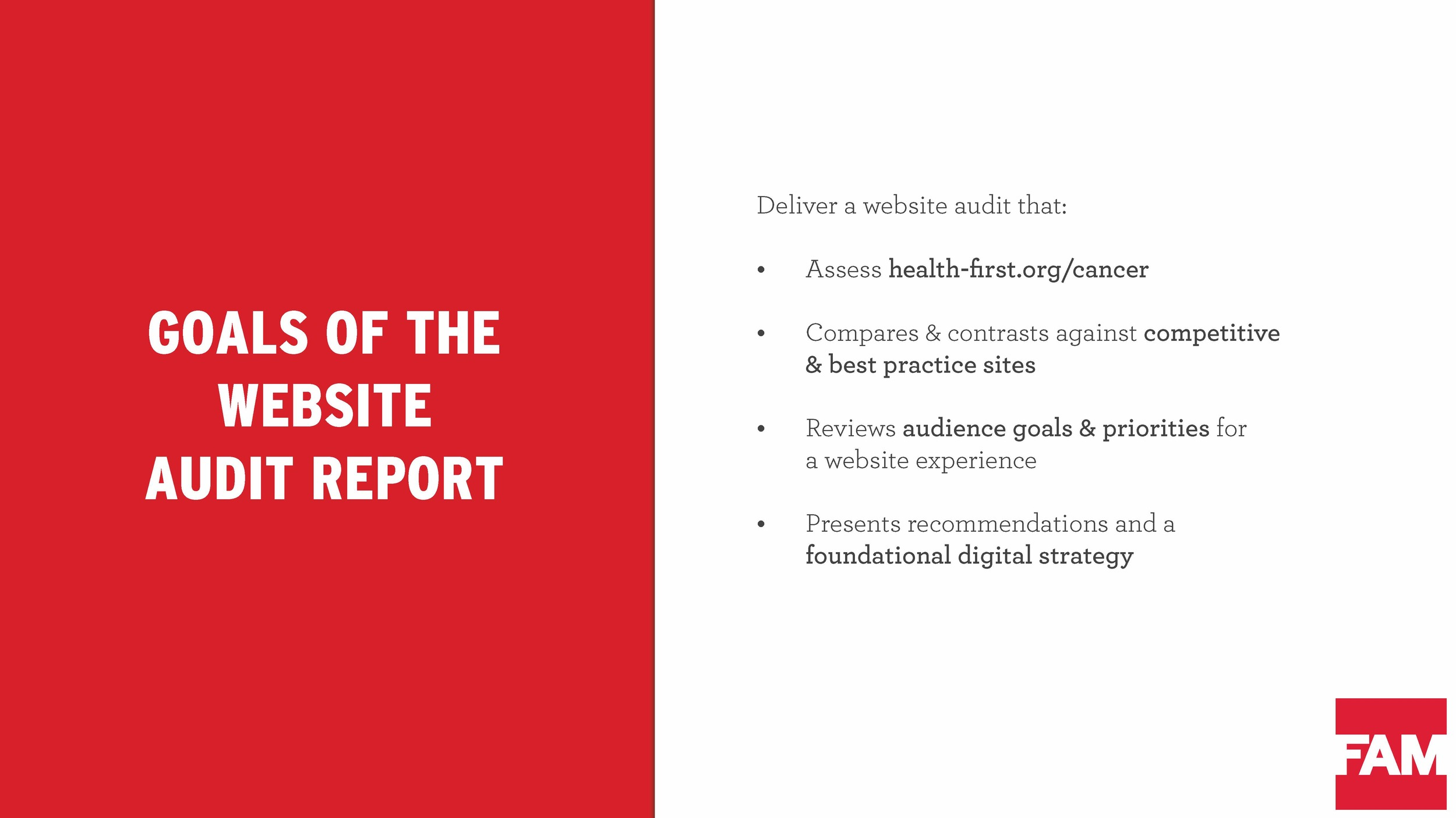Summary page from website audit
