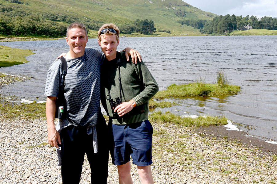 Iolo Williams with Ewan Miles
