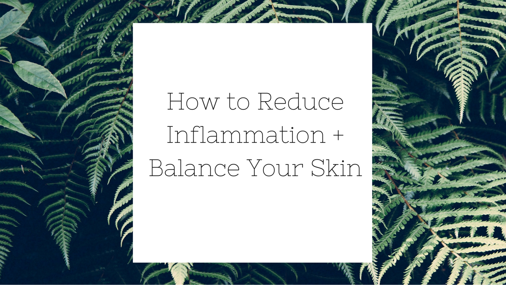 How to Reduce Inflammation + Balance Your Skin