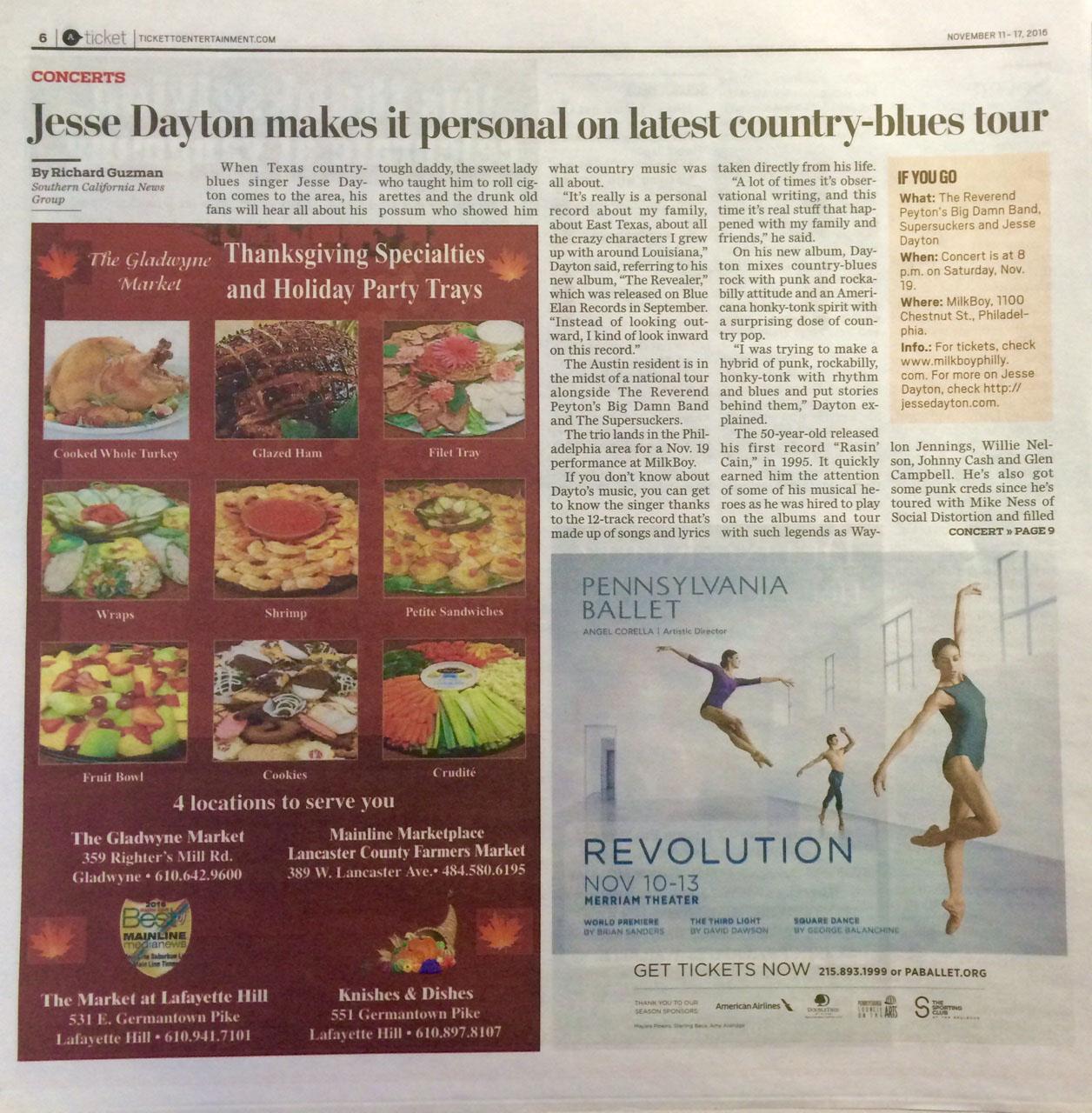 Print Ad in Main Line Media News