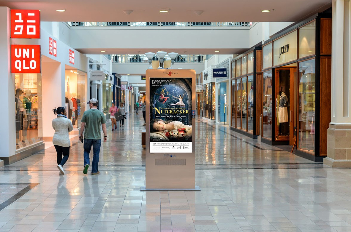 Digitally displayed a d in a shopping mall