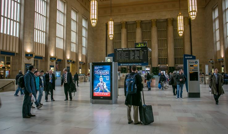 Digitally displayed ad in 30th Street Station, Philadelphia