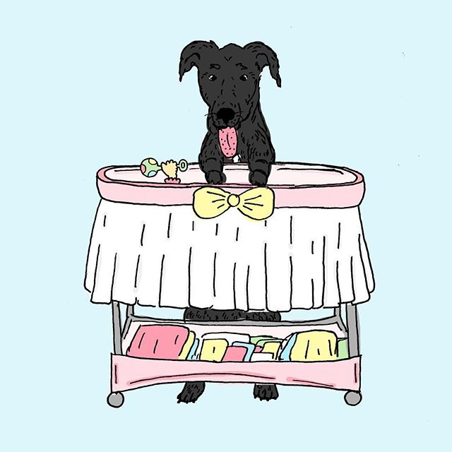 In celebration of Meg's new baby girl! #baby #newbaby #newborn #babygirl #dog #Labrador #nursery #love #newmom #motherhood #family #crib #illustration #illustrator #designer #graphicdesign #art #create #makersgonnamake