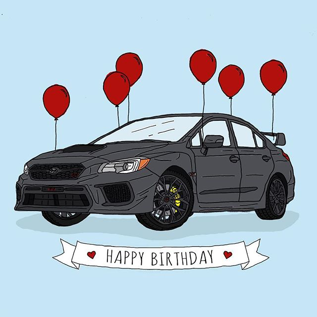 Happy Birthday Alex! Wishing you a year full of adventures in the STI, great company, terrible jokes, laughter, love, and all the best! #happybirthday #card #illustration #illustrator #graphicdesign #graphicdesigner #create #draw #subaru #subarusti #love #sti #balloons #penandink #artist