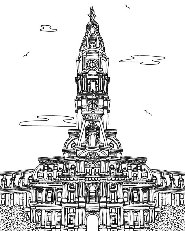 City Hall & Independence Hall, Philadelphia #philadelphia #cityhall #independancehall #libertybell #phillyphilly #inktober #draw #illustrate #illustrator #graphicdesigner #graphicdesign #city #create #instagood #love #home #penandink #architecture