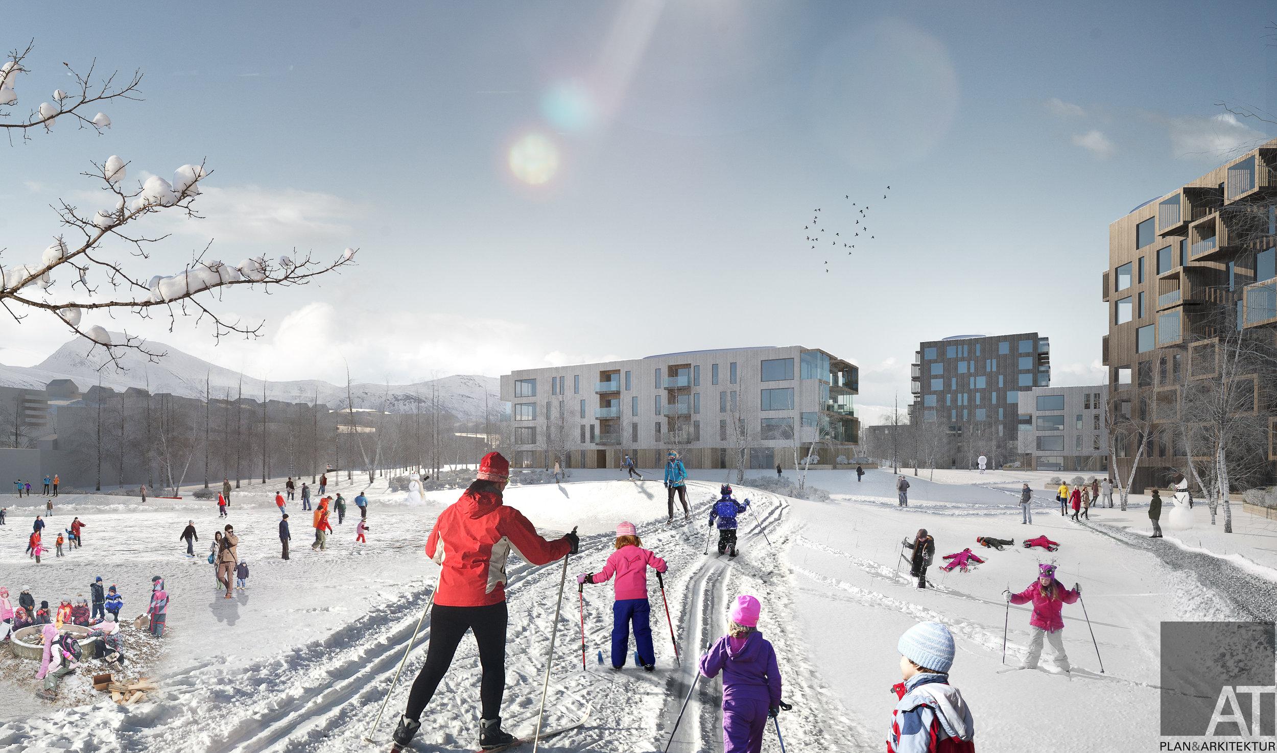 BOLTREPLASS: Nærmere 80 prosent av Einerhagen-området skal bestå av uteområder tilpasset lek, aktivitet og rekreasjon.