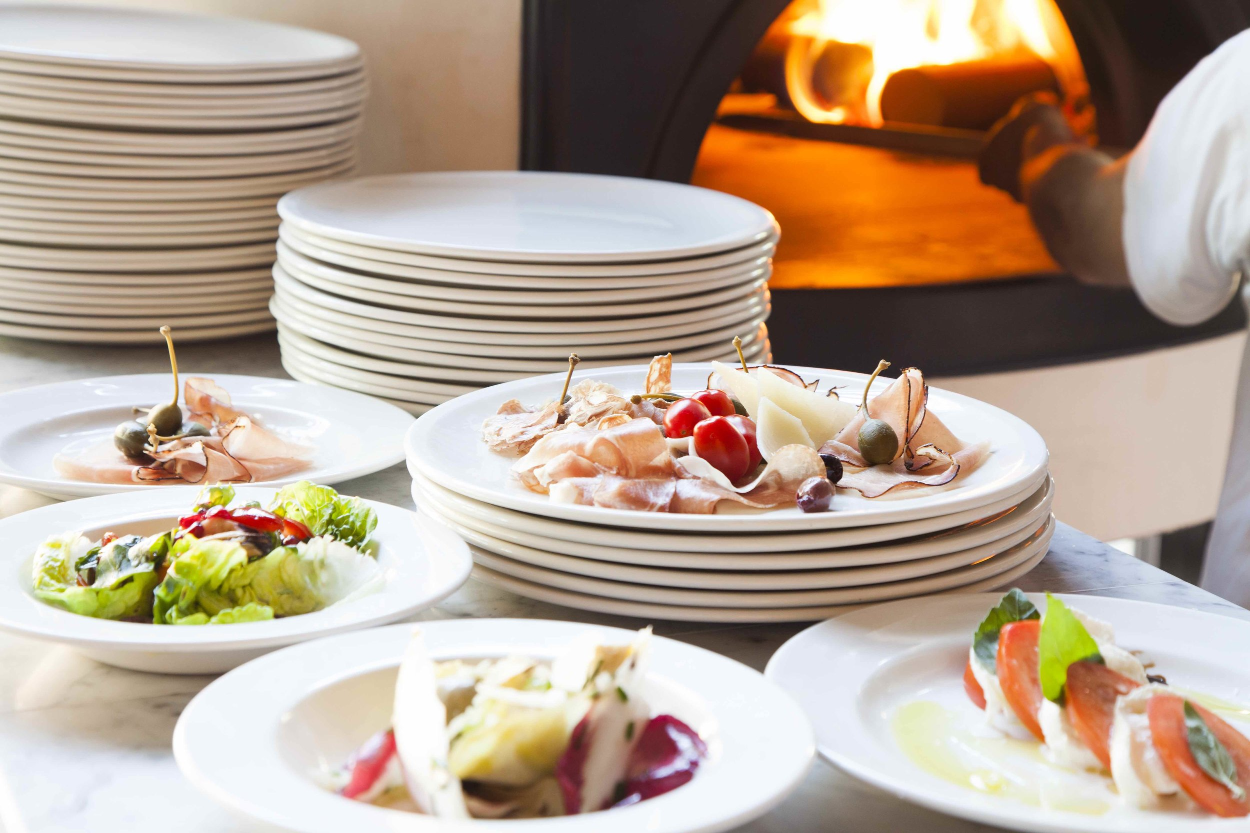 Our wood-fired oven and delicious anti-pasti