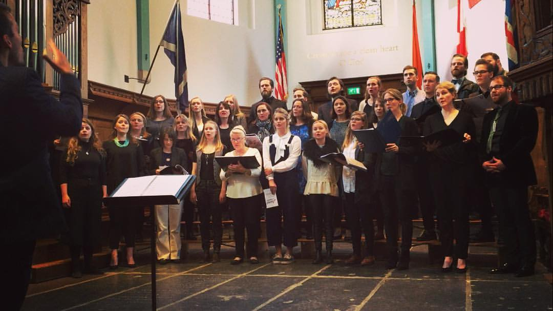Helgi R. Ingvarsson conducting the Icelandic Choir of London, and the Icelandic Choir of the Netherlands, for their joint spring recital March 2016 at the English Reformed Church, Amsterdam.
