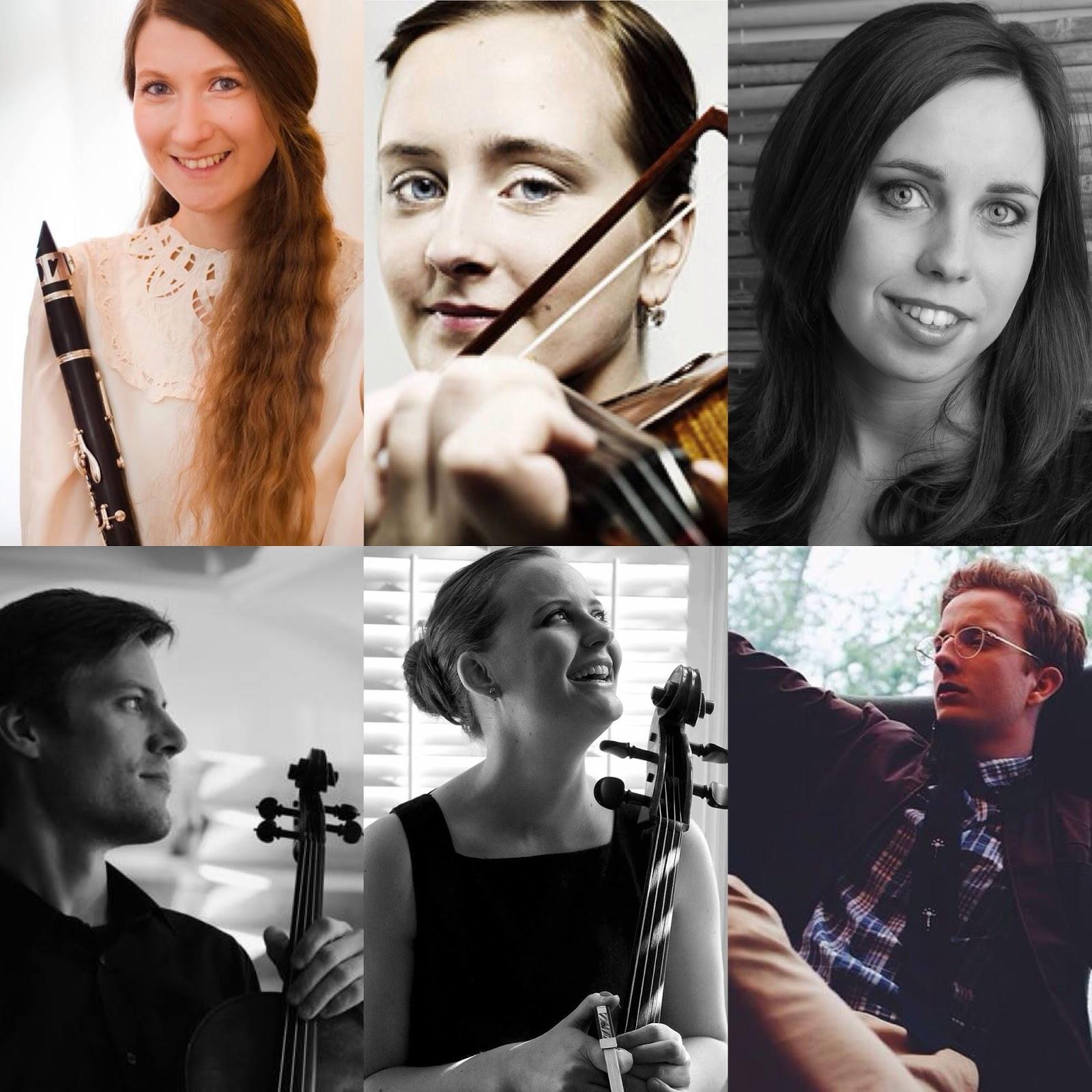 The performers. From top left: Kristín Þóra Pétursdóttir, Helga Þóra Björgvinsdóttir, Matthildur Anna Gísladóttir, Jonathan Larson, Guðný Jónasdóttir and Pétur Björnsson.