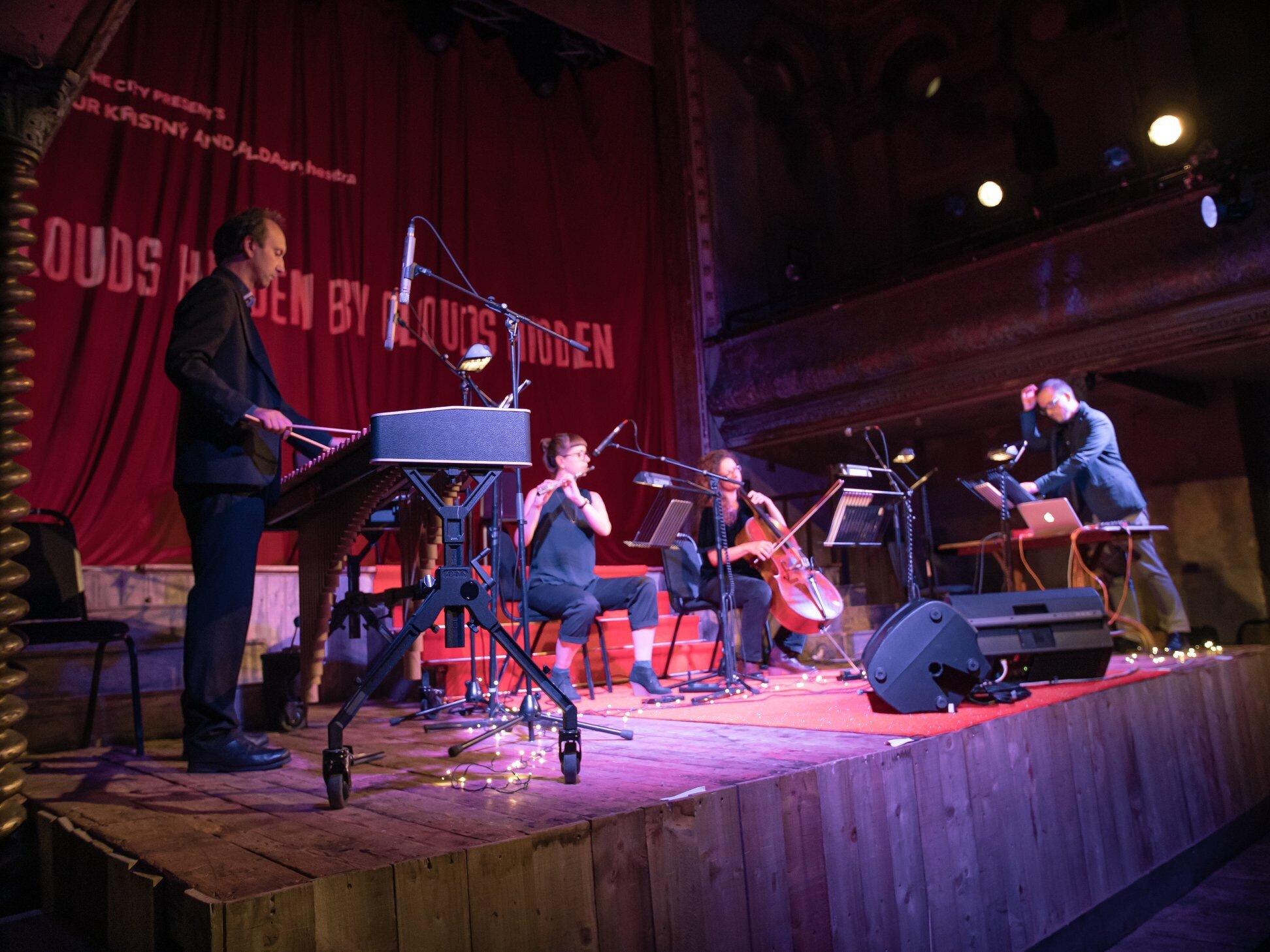 Marimba: Adam Bushell, flute: Helen Whitaker, cello: Sarah Davison, electronics: Helgi R Ingvarsson.