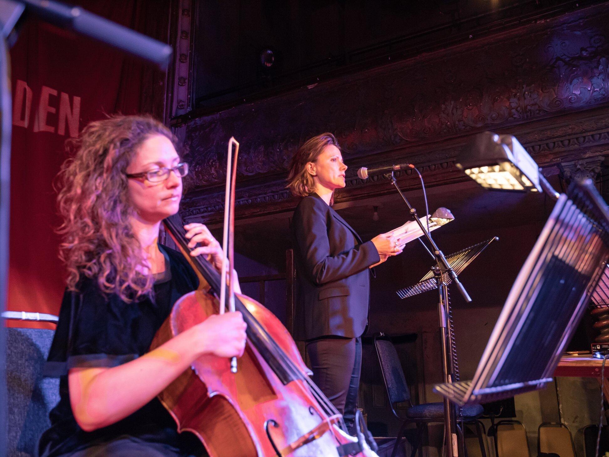 Cellist Sarah Davison and poet Gerður Kristný.