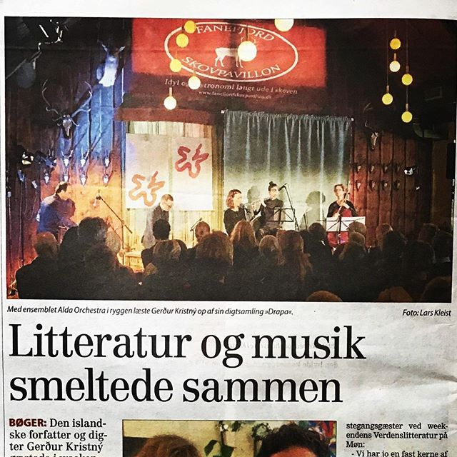 """We are in the local paper! Nice to have been so well received in Møn, Denmark 🇩🇰. """"Literature and music merged together"""". —————— #møn #drapa #drápa @verdenslitteratur #gerdurkristny #gerðurkristný #gerður #kristný #helgi #ingvarsson #poetry #icelandicmusic"""
