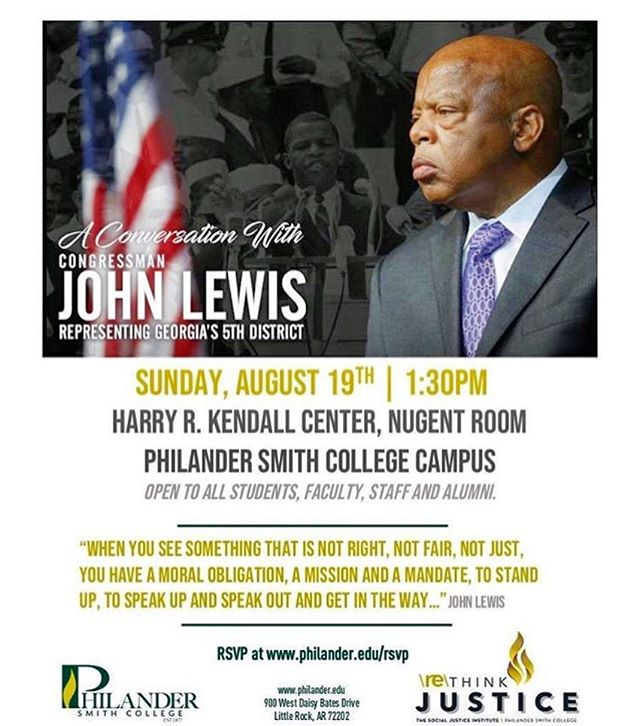 If you aren't 'thinking justice,' perhaps it is time. 🤔To hear an iconic civil rights and social justice figure speak on why it is necessary, now more than ever, join Congressman John Lewis for an important conversation. This Sunday | 1:30PM | @ Philander Smith College. ✊🏾#REthinkjustice #PhilanderForward • RSVP @ philander.edu/rsvp ✅