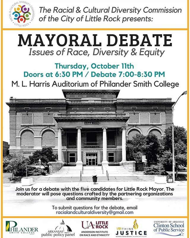 TONIGHT: Little Rock Mayoral Debate with all five candidates highlighting issues of race, diversity and equity.  Doors open at 6:30pm, debate begins at 7:00pm. #rethinkjustice #socialjustice