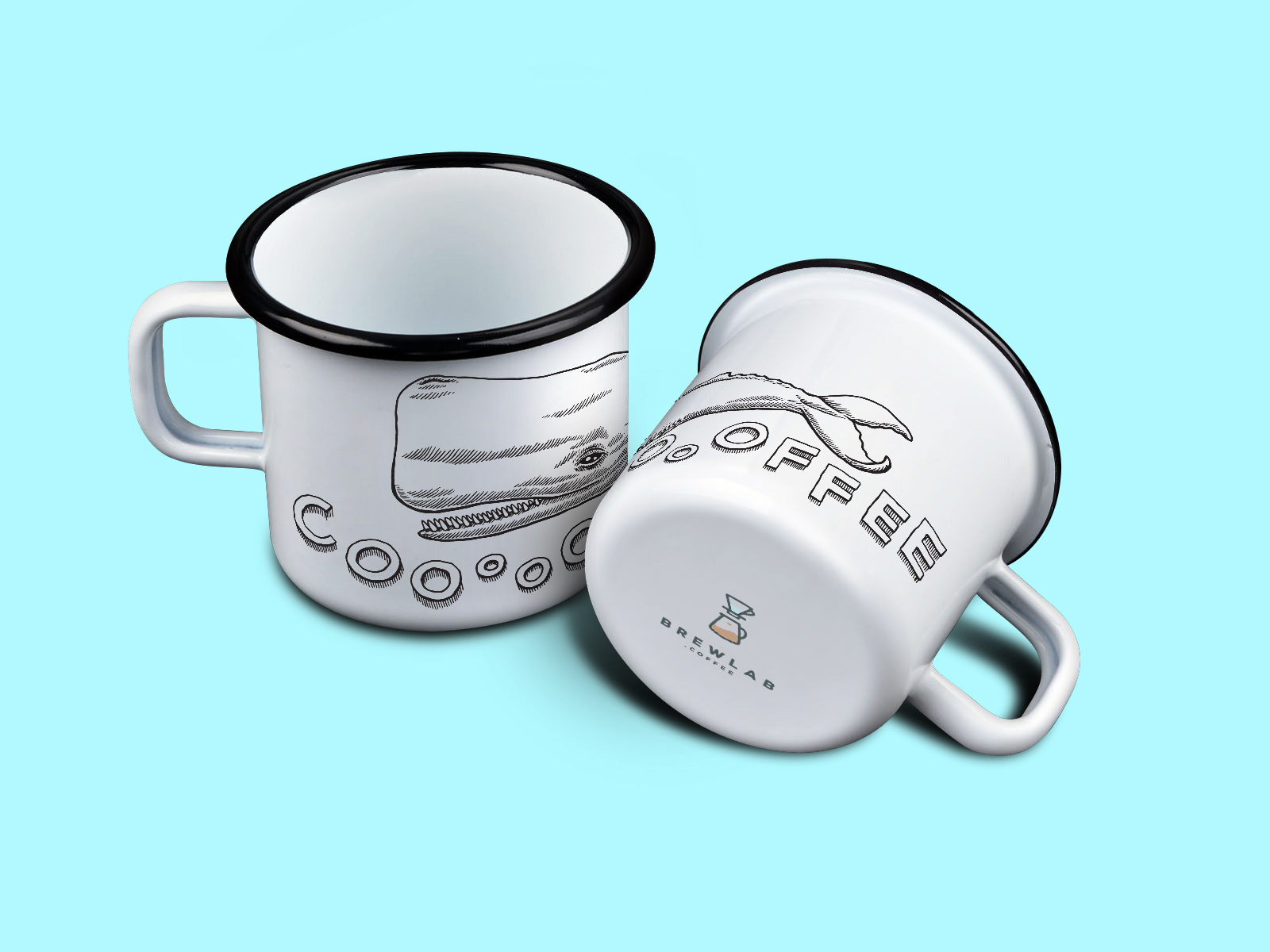 Enamel mug design with the whale mascot.
