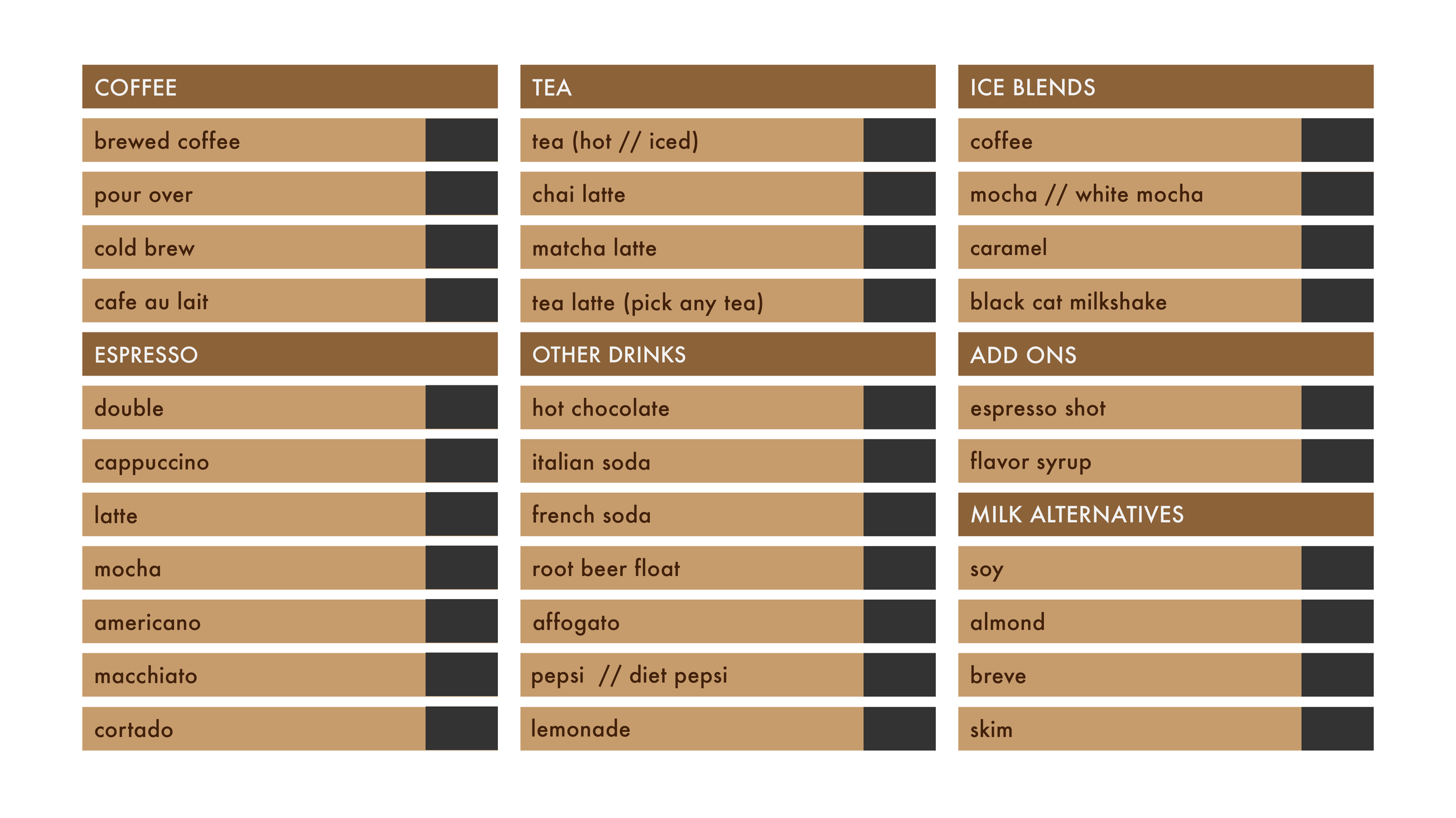A menu board design, to be made of wooden boards.