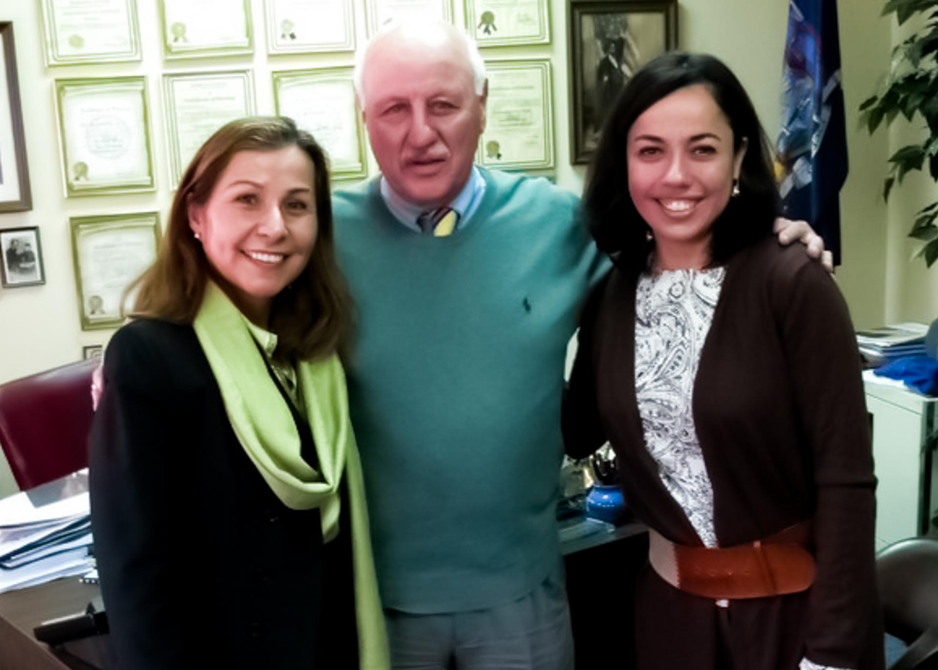 Isabel Sepulveda (President of OLA of Eastern Long Island), Senator K LaValle and Veronica Abreu (Computer teacher in OLA of Eastern Long Island) — with Clases Verónica.
