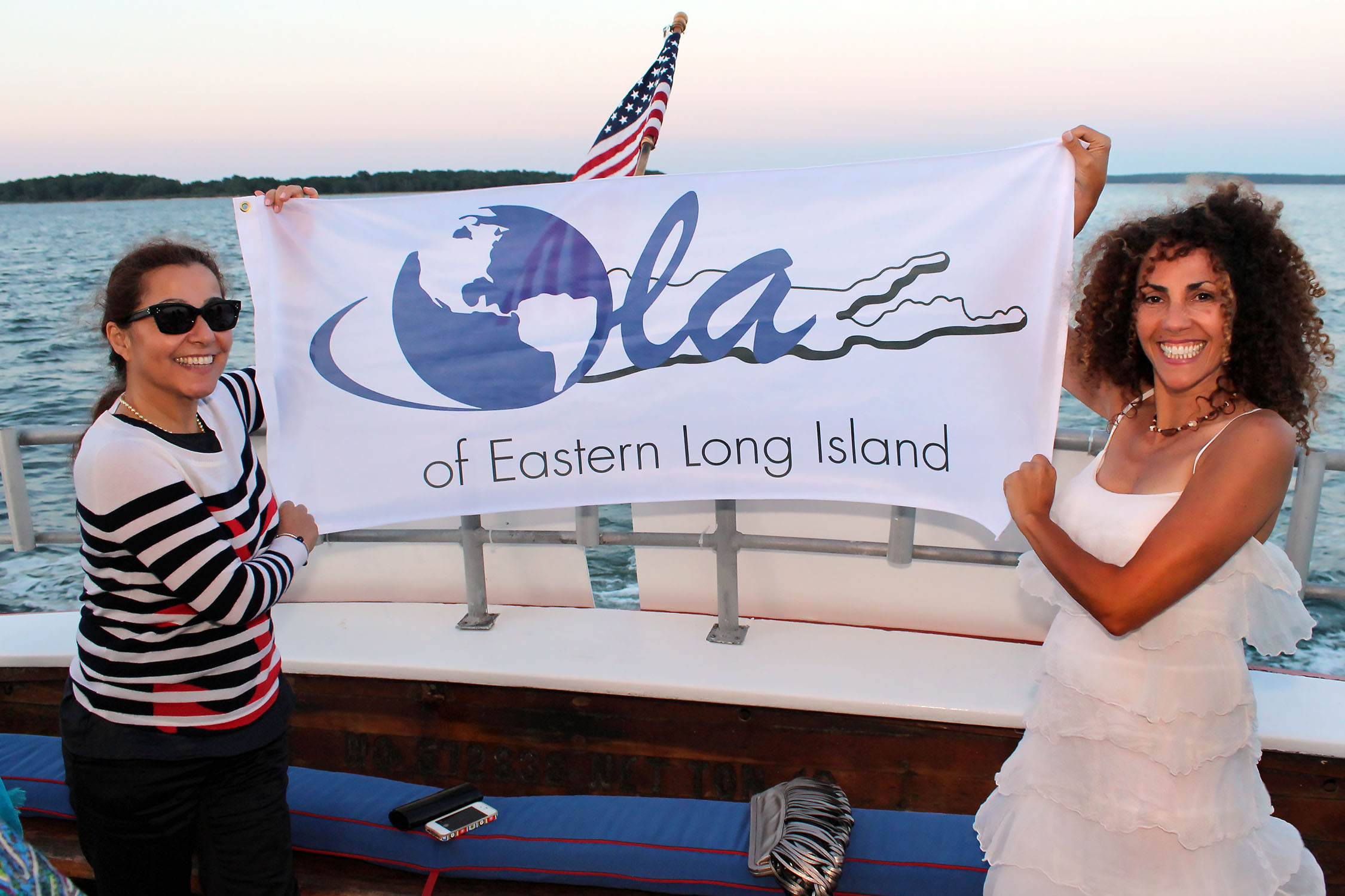 Isabel Sepulveda de Scanlon, Board President and Minerva Perez, Executive Director. On board the first Latin Jazz Sunset Cruise © Tom Kotchie