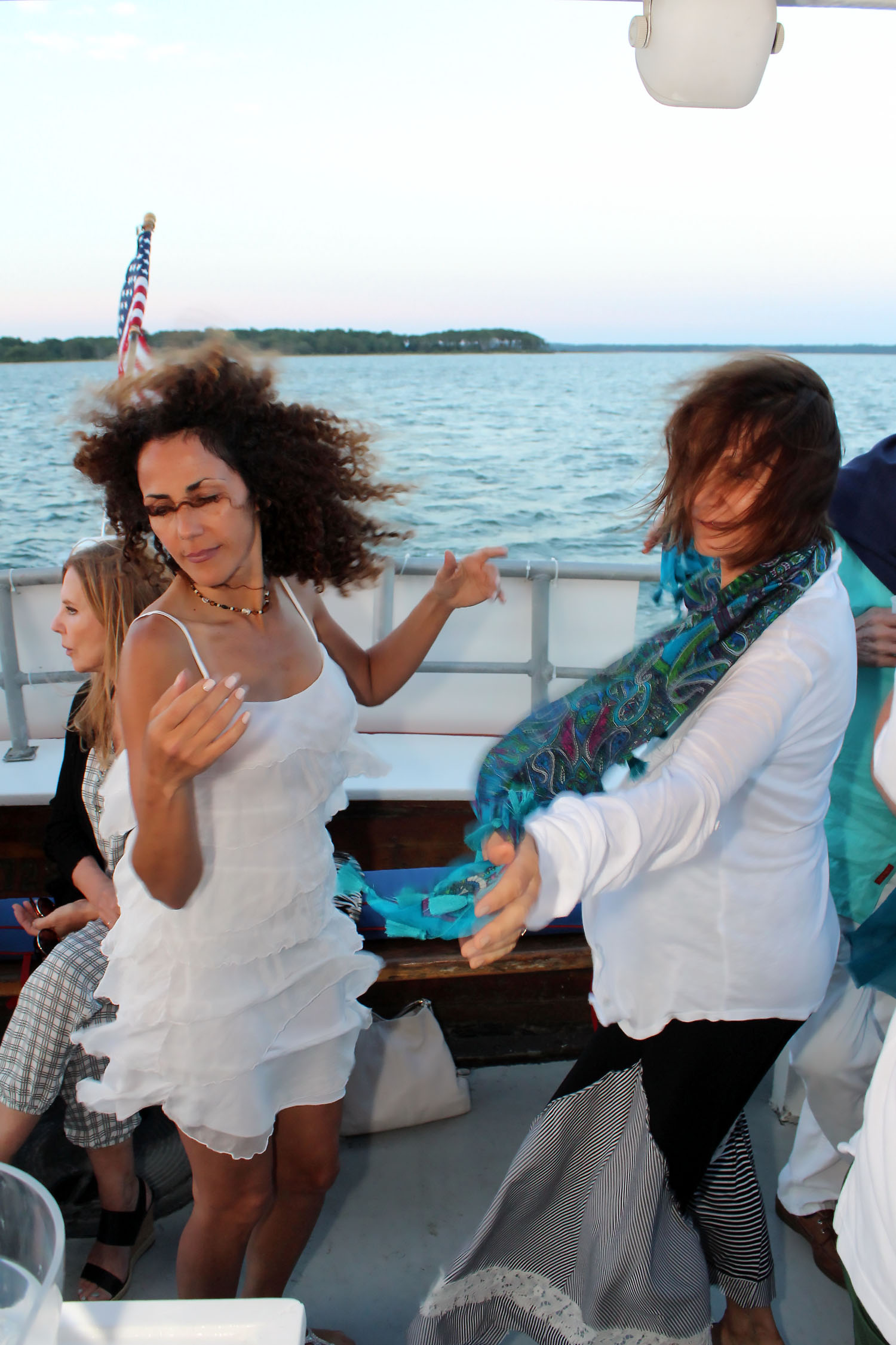 Always dancing on First Latin Jazz Sunset Cruise on June 30, 2016 © Tom Kotchie