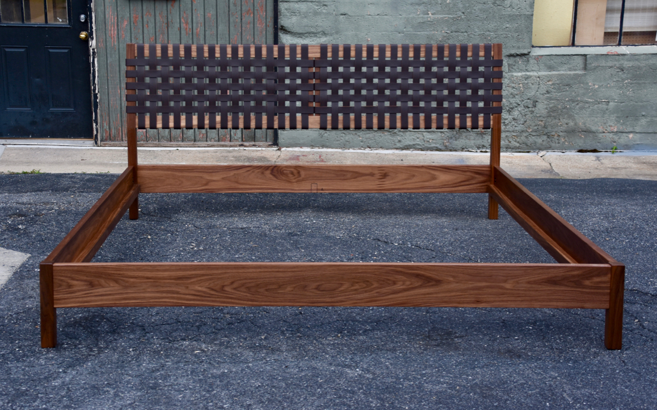 King, in walnut with brown leather.