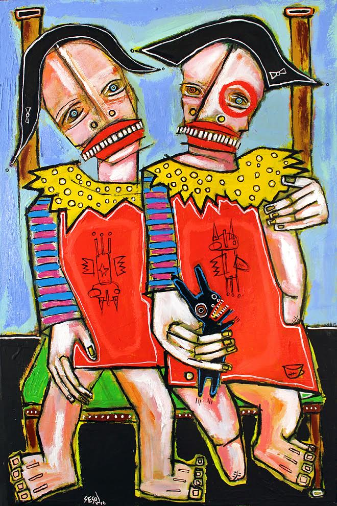 """Identical Twins"", 36"" x 24"" acrylic/oil on stretched canvas, 2016 (Part of the permanent collection of the American Visionary Art Museum in Baltimore, Maryland)"