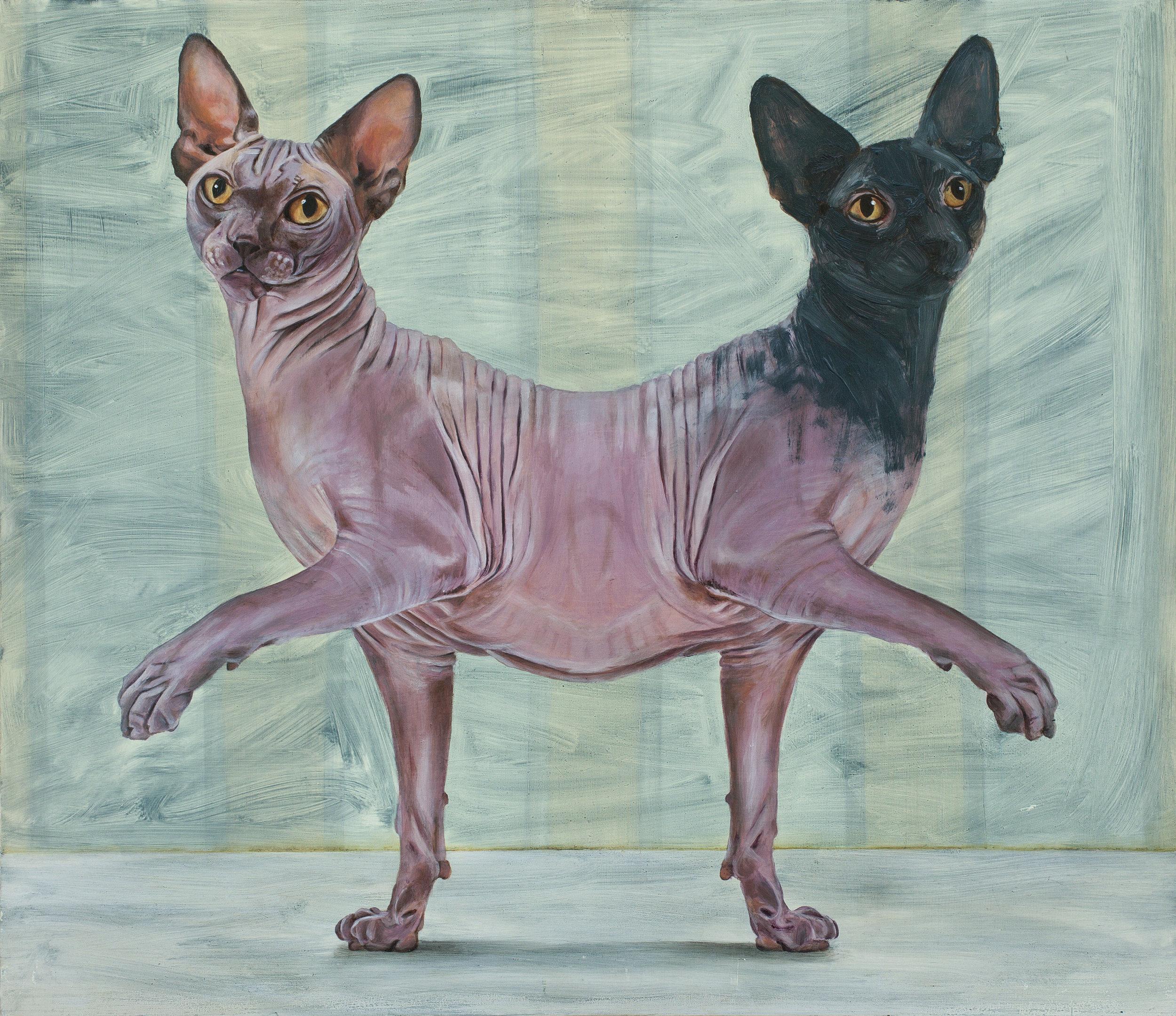 Yael Caffrey, Parapagus Cat II , 2015,  Oil on Wood
