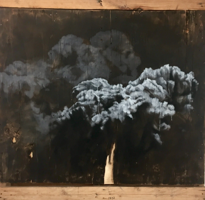 Tom Pazderka, Nostalgie XI - ash and charcoal and oil paint on burned wood, 2018