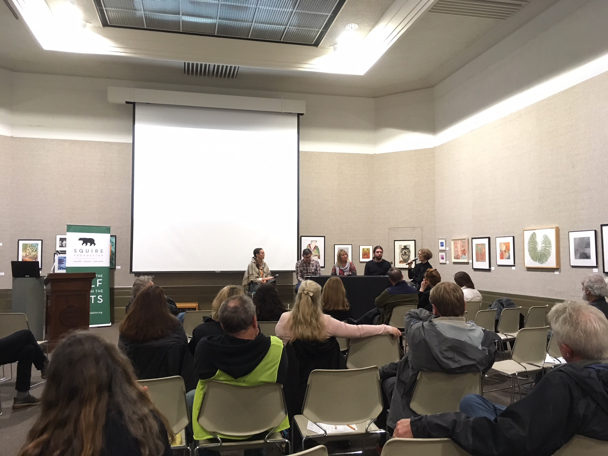 Art in Environmental Activism Discussion Panel, with Brenda Longfellow, Ethan Turpin, Myla Kato, and Tom Pazderka.