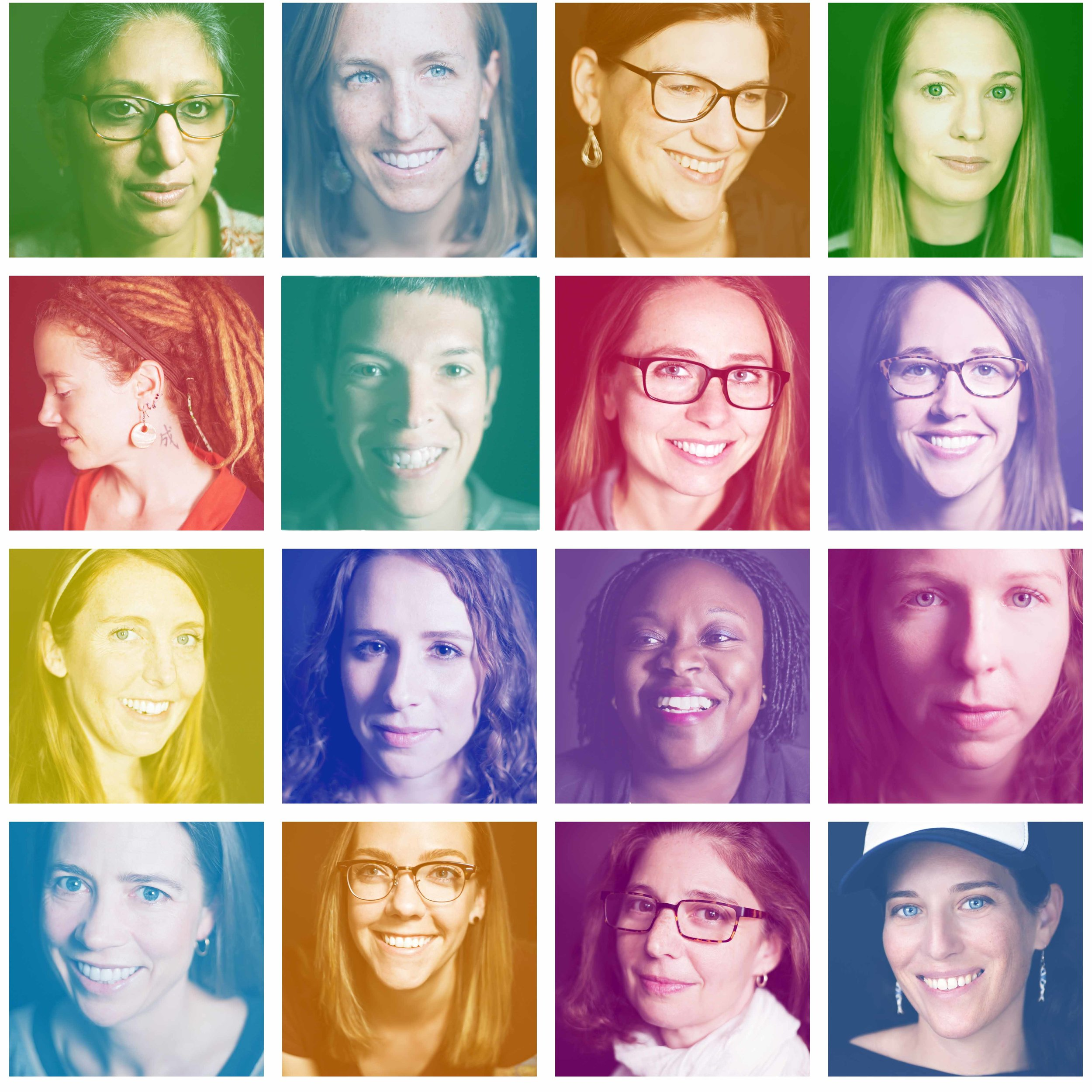 Collage of Nicole Berry's portraits of  Women in Science