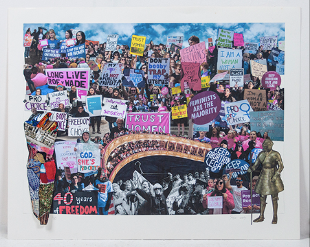 """Pro-Choice Activism: Today, and in 1989 with Merle Hoffman 968  2019; collage; 23"""" x 29.5"""""""