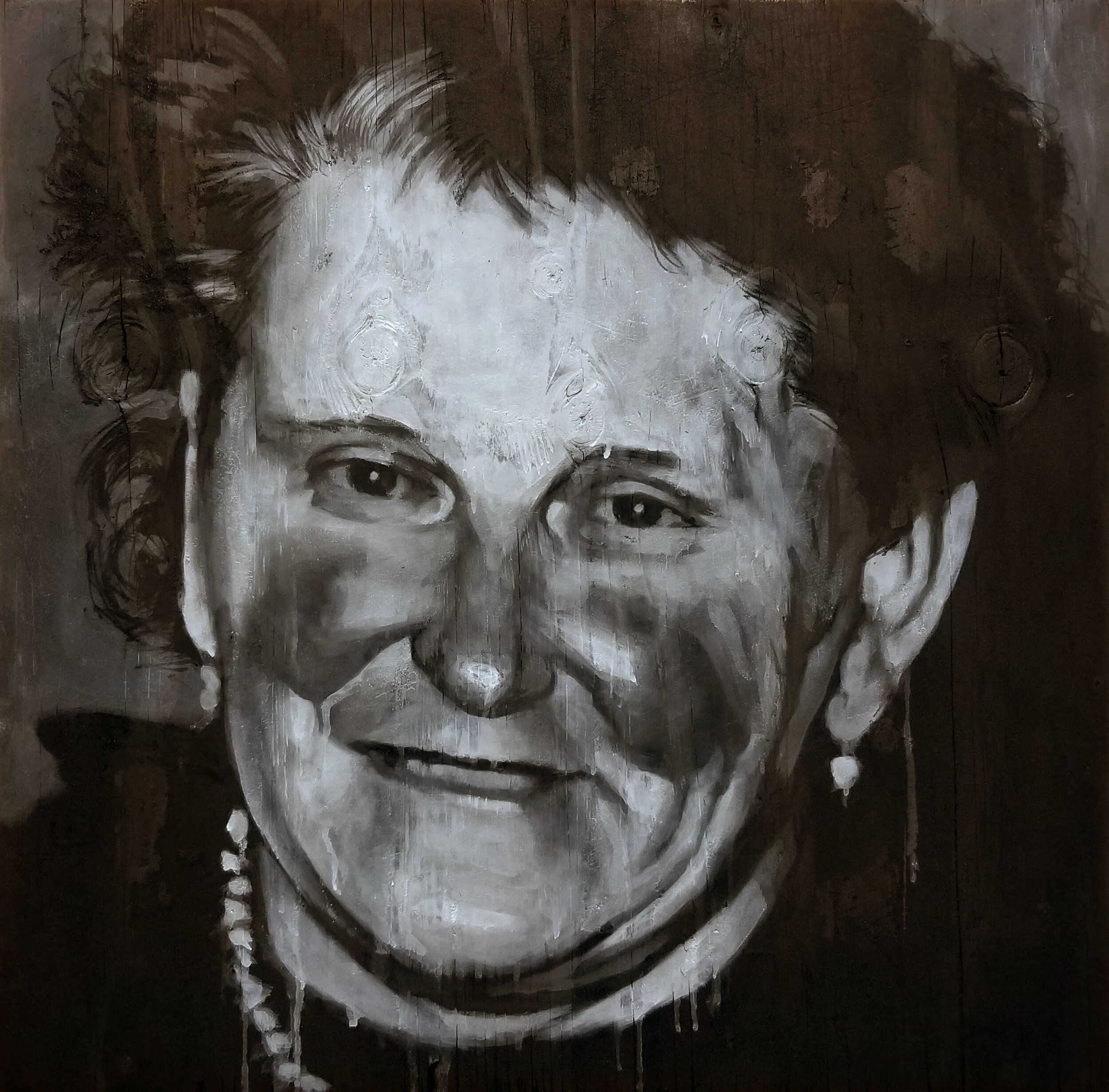 The Smile, 21.5x21.5, ash,charcoal and oil on burned panel