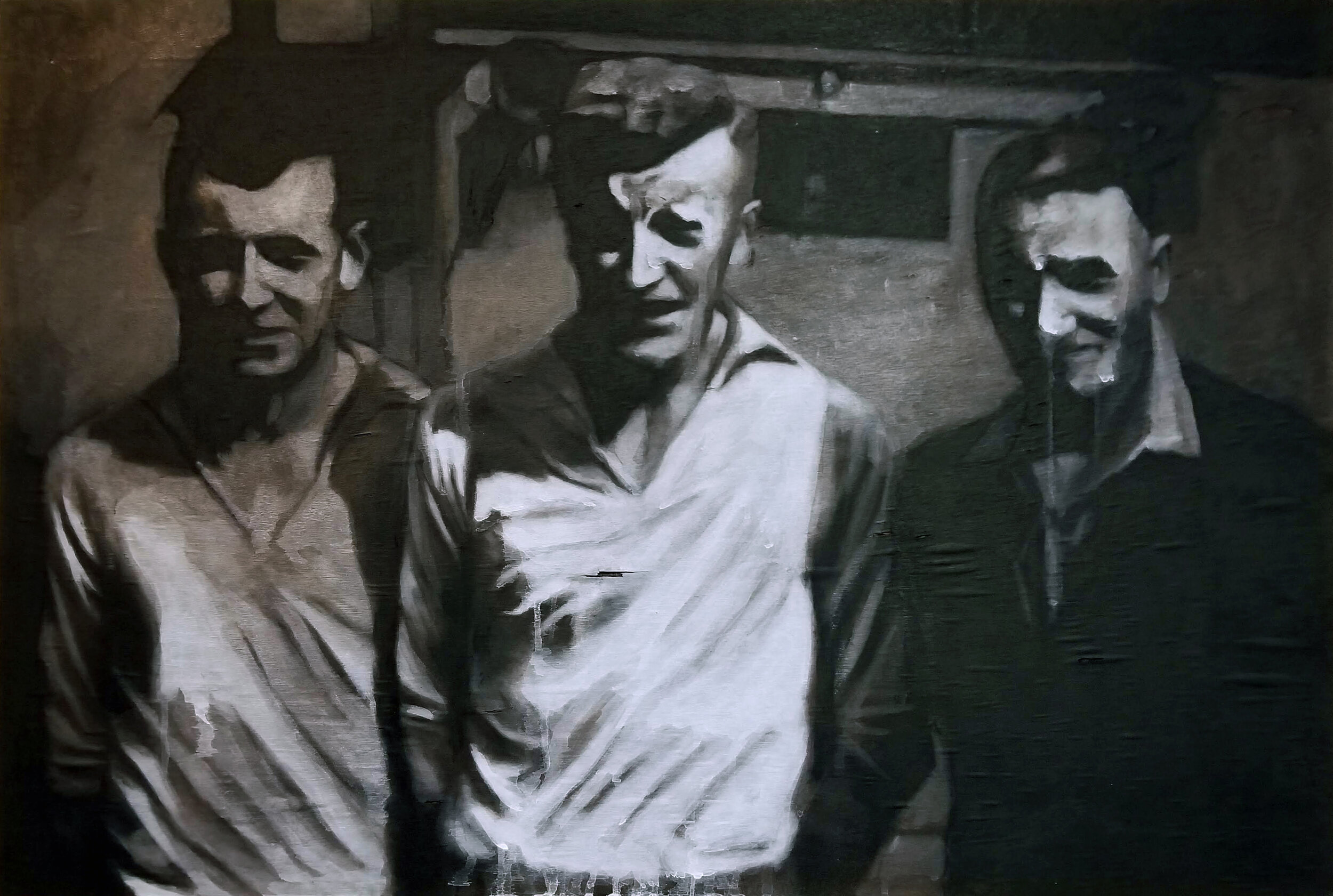 The Team, 39.5x26, ash,charcoal and oil on burned panel