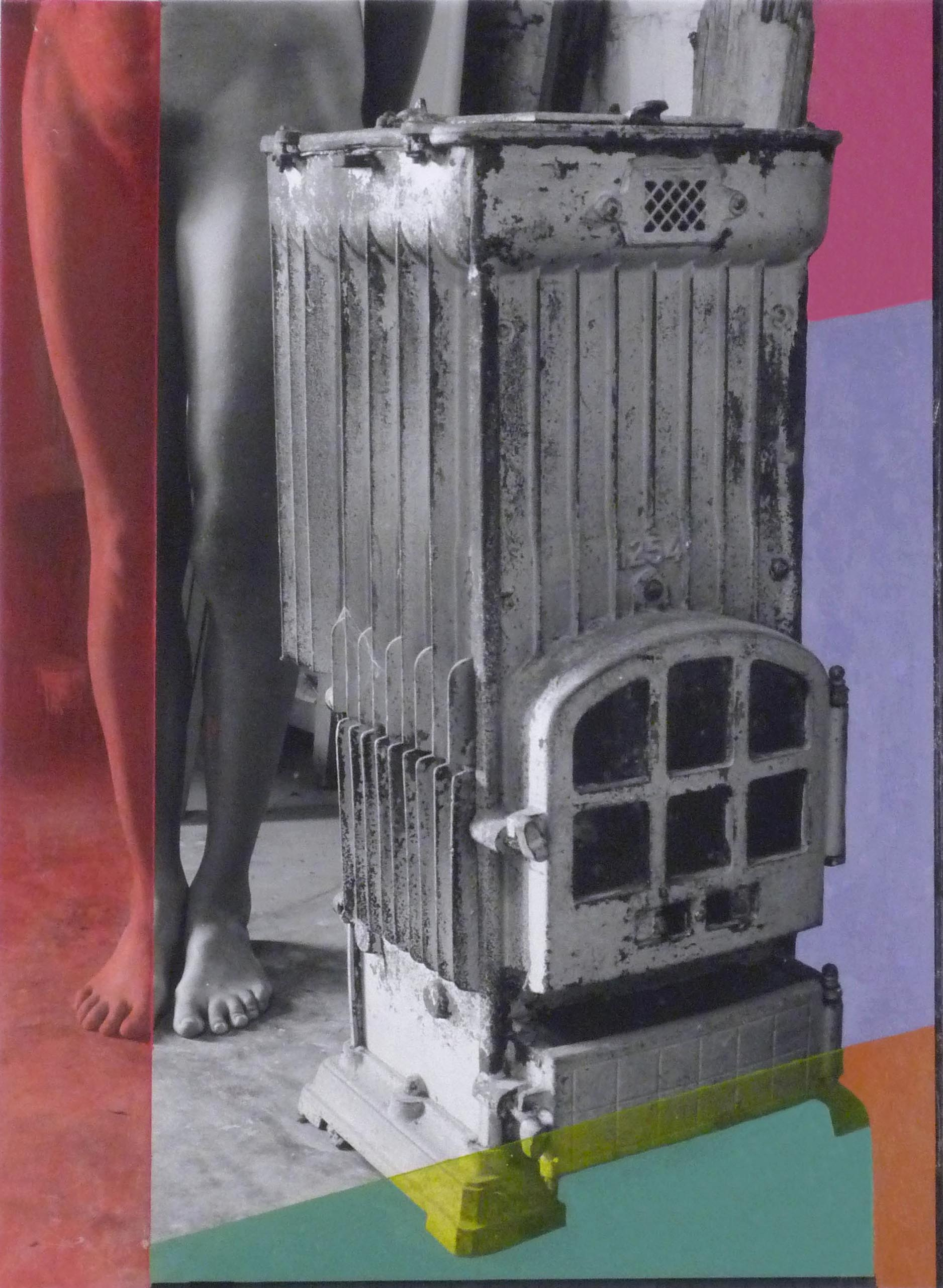 Portrait of a Stove with Violet  2006  oil paint on gelatin silver print  20 x 16 inches