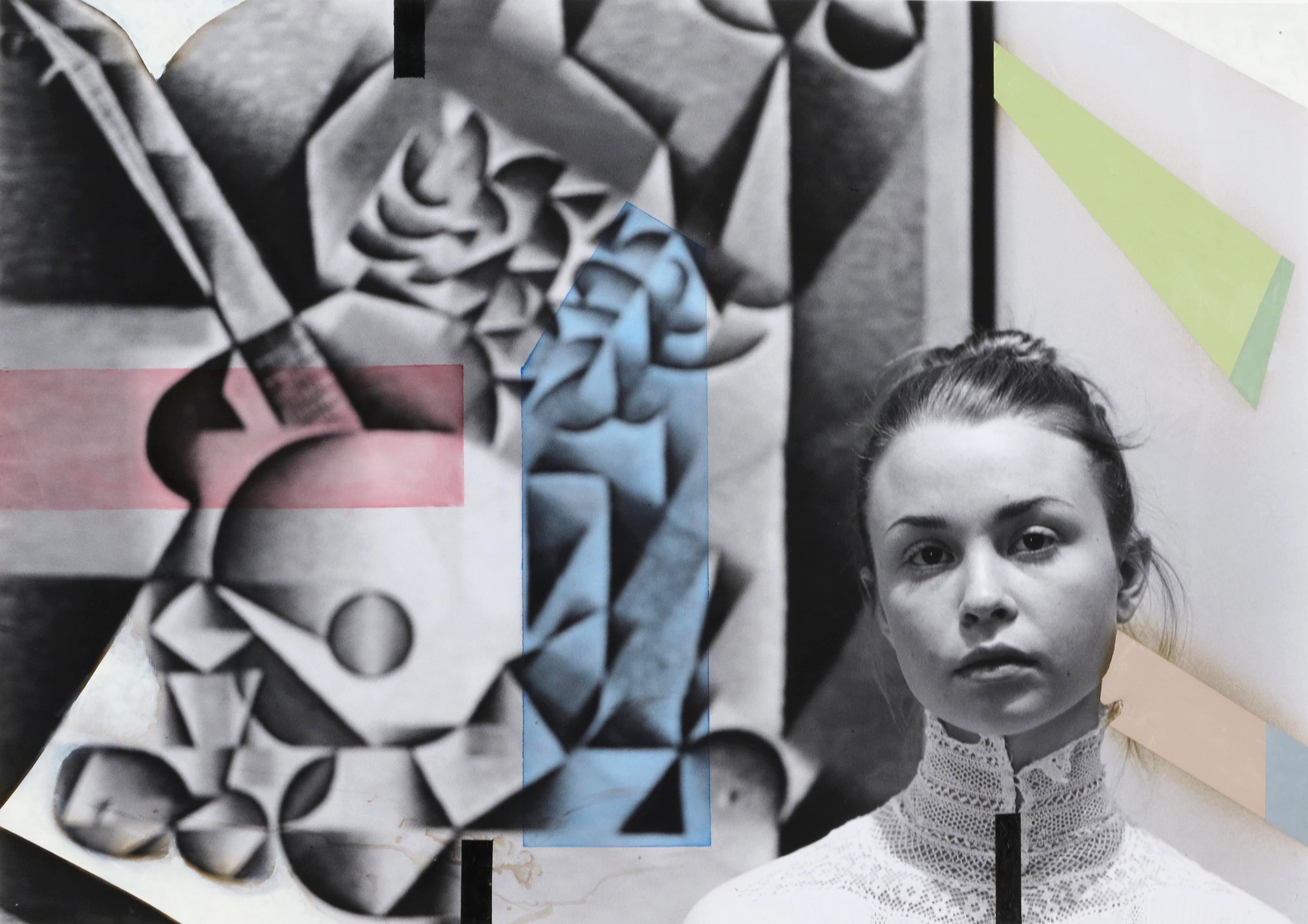 Alexandra in her Cubist Phase  2012  oil paint on gelatin silver print  24 x 34 inches