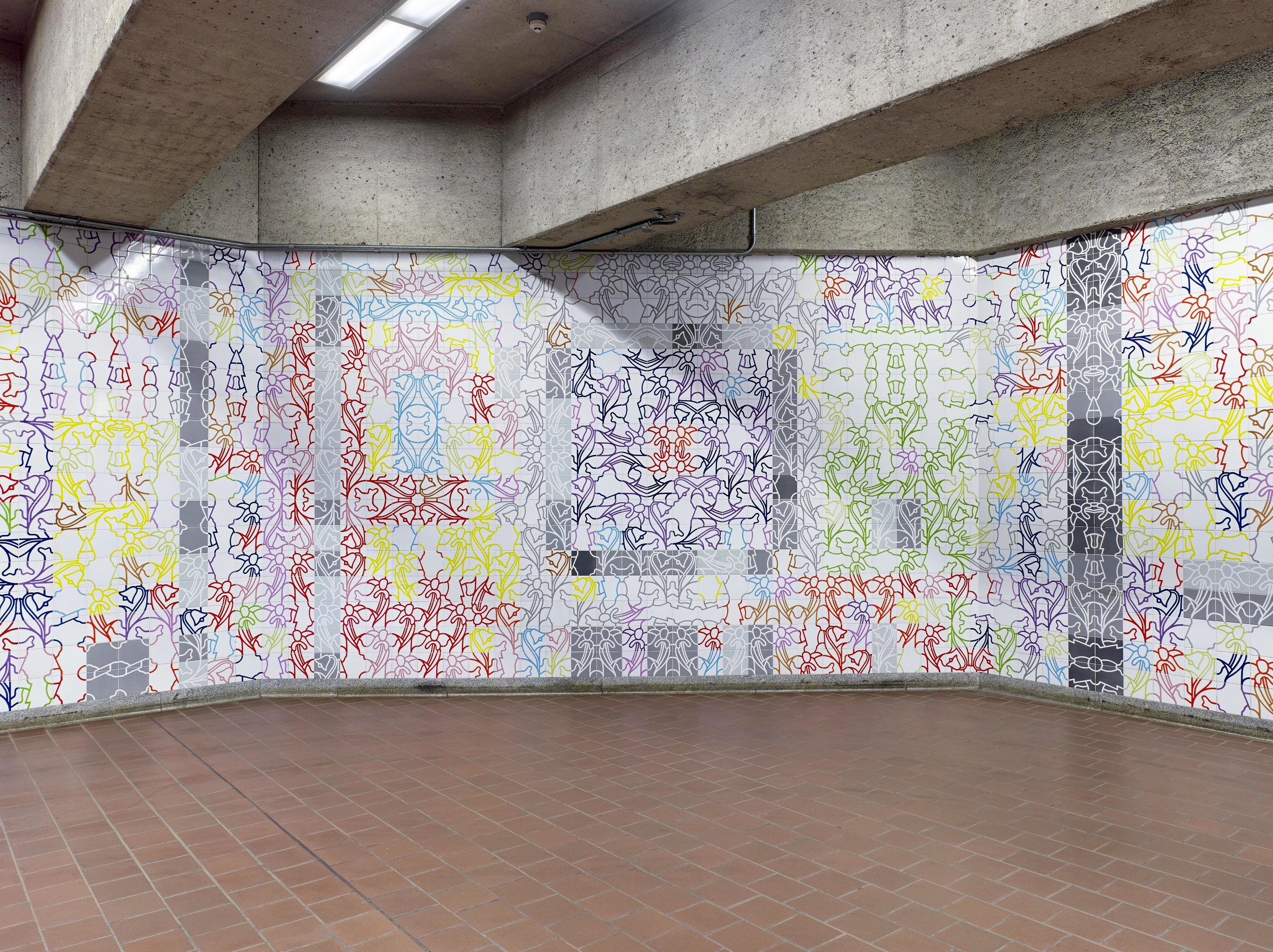 George Woodman Tile Installation in the Subway  Buffalo, New York 1984