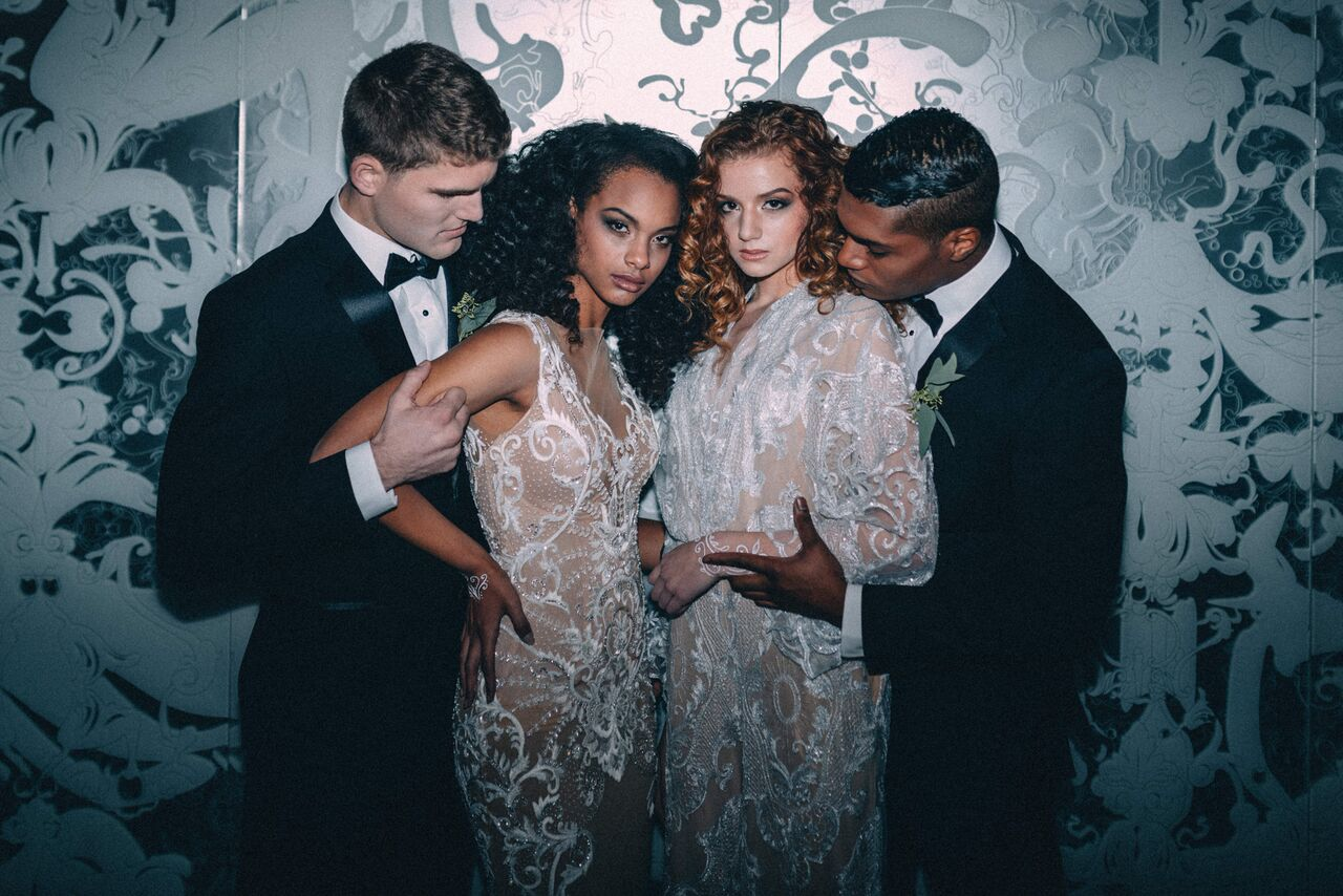 Makeup by Midori Tajiri-Byrd for Nola Wedding Guide shoot / Photographer Dark Roux / Models Brooke Hahli and Isabella Tancredi / Wardrobe by Pedram Couture, Wedding Belles and Century Girl Vintage