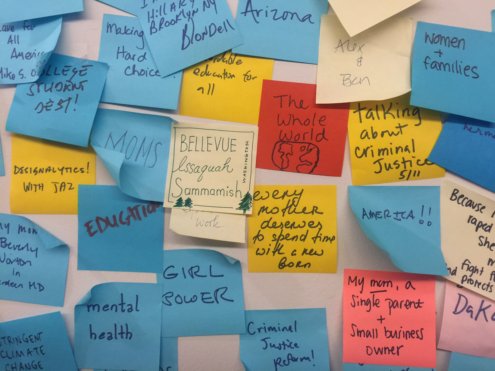"The ""H Wall"" where visitors post their hopes for Hillary's vision and goals."