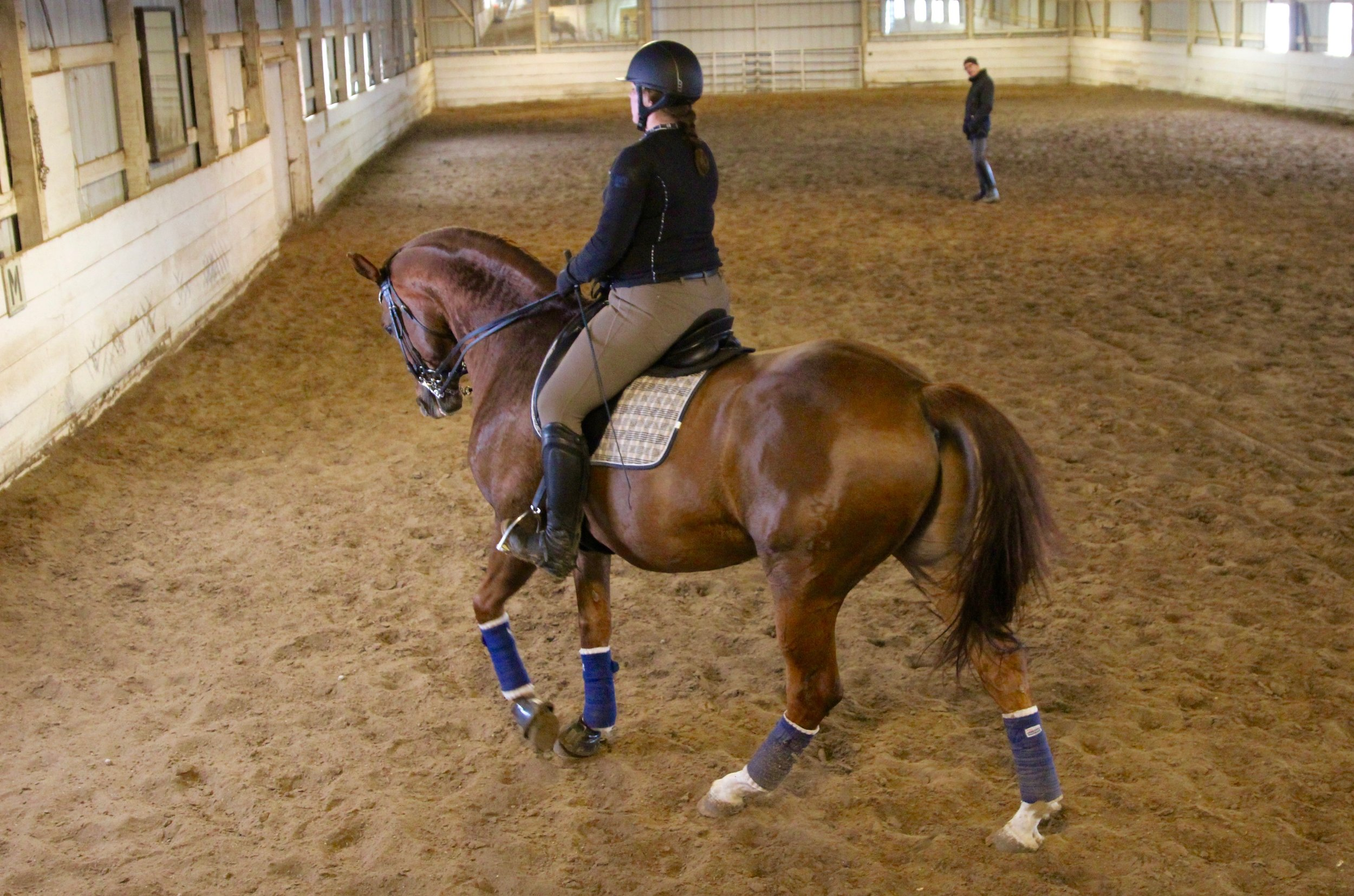 Margo riding Dobby