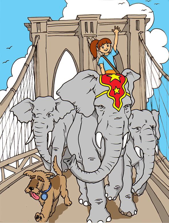 Skylar on an adventure across the Brooklyn Bridge