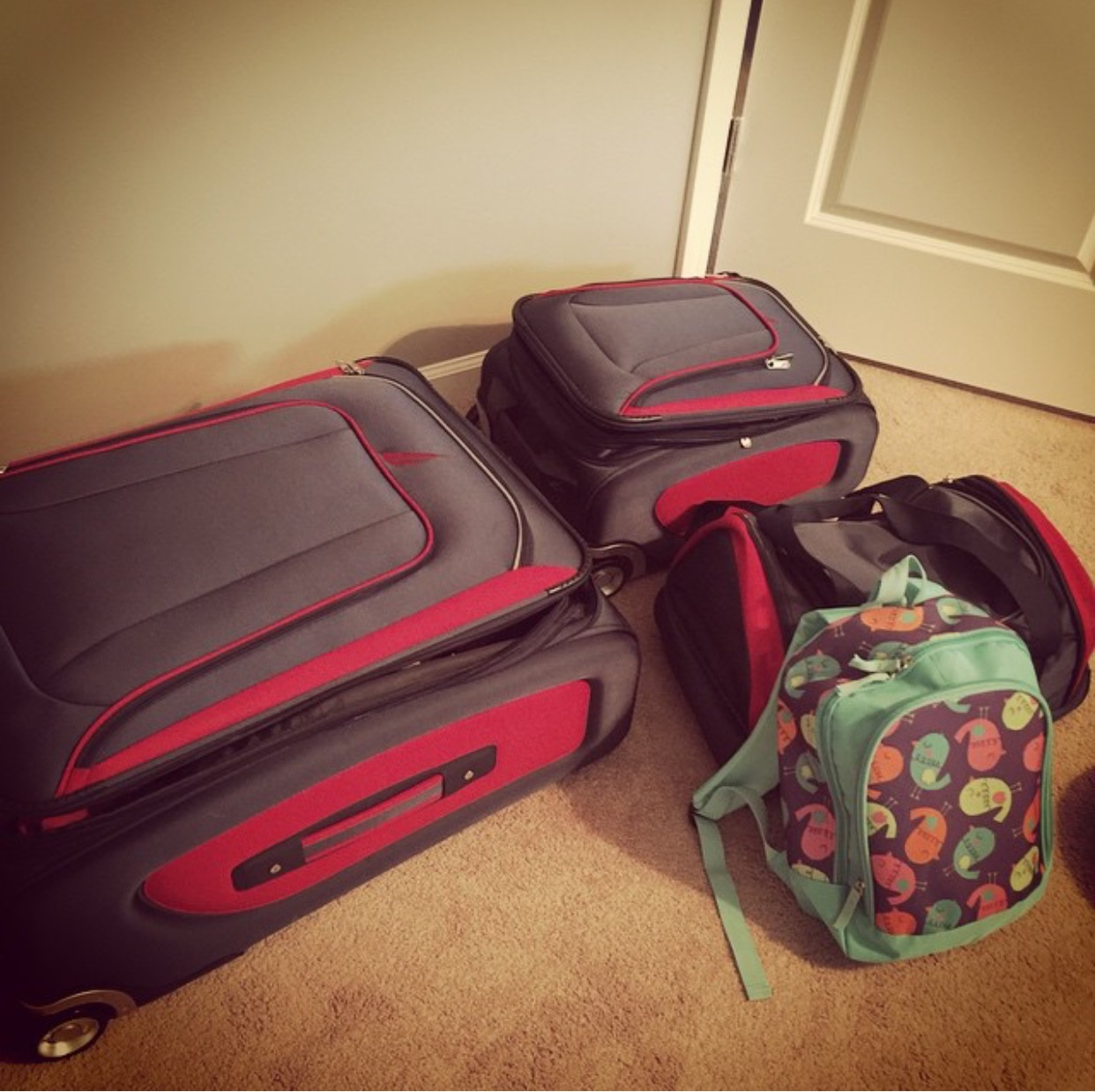 This is all we packed for a two week international trip for three people.