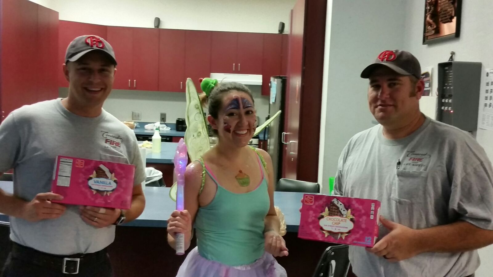 That's me...embracing my weird and delivering ice cream to our local fire department dressed as a fairy...this was for a  scavenger hunt called gishwhes  in 2016