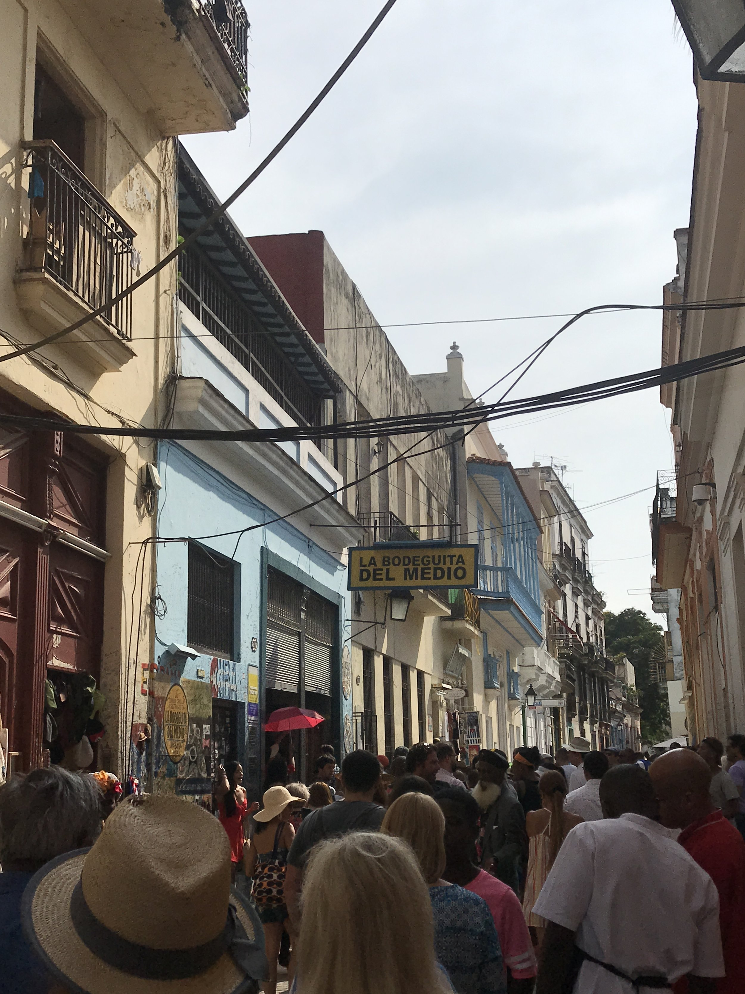 Popular street in Havana packed with tourist.