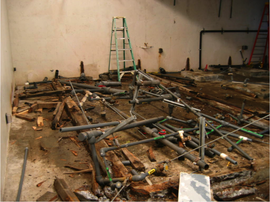 The renovation process in the wet lab, 2011.