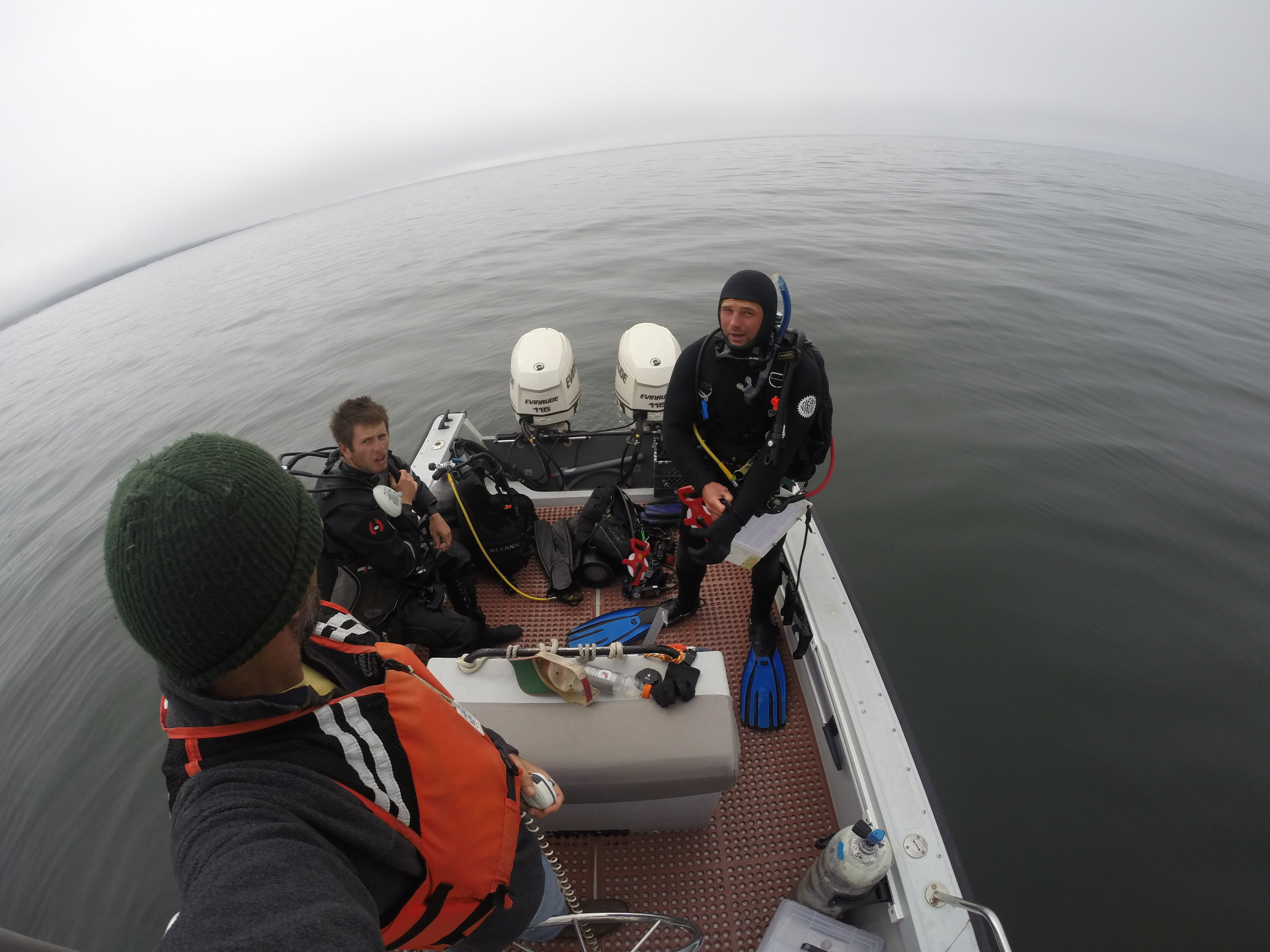 Scuba diving on the 22 ft. Shearwater.